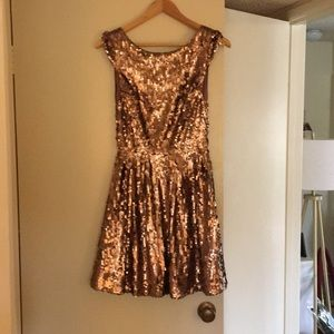 Bebe rose gold sequin dress size small